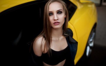blonde, portrait, brunette, girls, car, camaro, kozhanka
