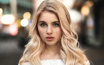 девушка, блондинка, взгляд, волосы, лицо, мартин кюн