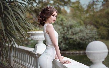 девушка, взгляд, волосы, лицо, прическа, белое платье