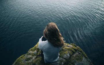 water, nature, girl, mood, hair, rock
