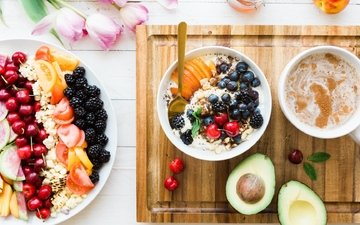 fruit, coffee, berries, tulips, breakfast, avocado, cereal, fruit salad
