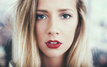 девушка, блондинка, портрет, взгляд, модель, волосы, лицо, красная помада, meline carmona, laurent meurice