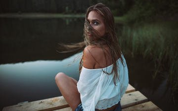 lake, girl, brunette, look, model, hair, face, paul toma