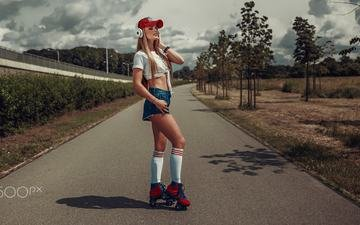 clouds, trees, the sun, girl, blonde, headphones, figure, cap, mike, shorts, is, knee, videos, on the road, damian piórko