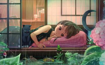 цветы, девушка, аниме, дождь, черный кот
