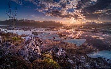 небо, облака, вода, озеро, горы, природа, финляндия, juuso oikarinen