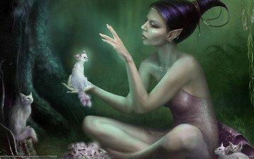 лес, девушка, фея, кошки, эльф, эльфийка, эльфика