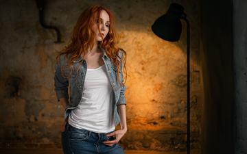 девушка, рыжая, волосы, лицо, закрытые глаза, сергей fat, anna boevaya