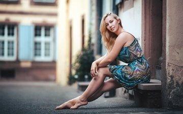 девушка, платье, блондинка, улица, ноги, сидя, босиком, kerstin