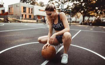 girl, pose, blonde, the ball, mike, shorts, sneakers, photoshoot, basketball, playground, jonas jäschke