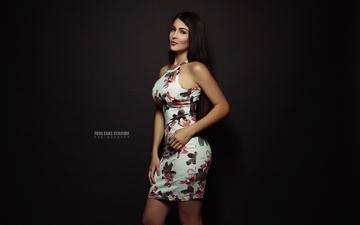 girl, dress, look, hair, black background, face, paul egas scarino, andreina berrueta