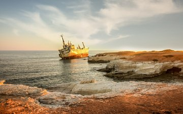 the sky, nature, shore, sea, ship, coast
