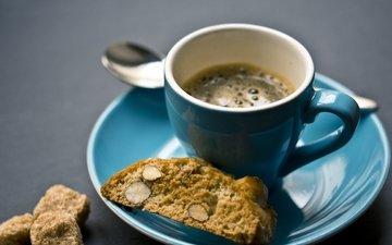 напиток, кофе, чашка, завтрак, печенье, эспрессо, миндаль