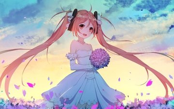 bride, loli, twintails, wedding dress, smiling, black bullet, aihara enju