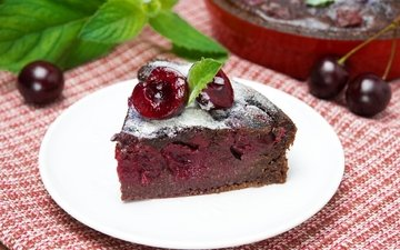 вишня, тарелка, выпечка, торт, десерт, сахарная пудра, пирог