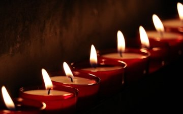 candles, flame, wall, black background, wick, candle