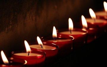 свечи, пламя, стена, черный фон, фитиль, свечки
