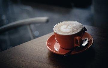 кофе, чашка, напитки, ложка, капучино, пенка, боке