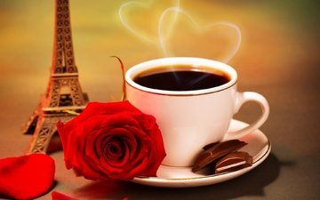 roses, coffee, heart, saucer, cup, chocolate, eiffel tower
