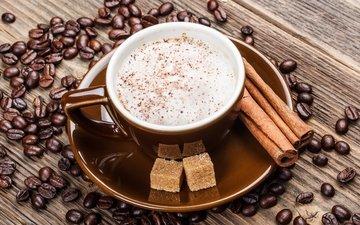 корица, кофе, чашка, кофейные зерна, сахар