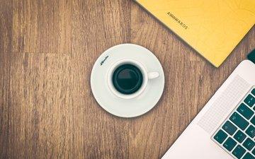 кофе, стол, чашка, ноутбук, эспрессо