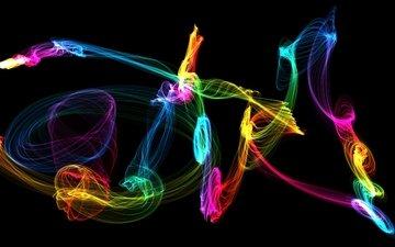 абстракция, цвет, радуга, графика, узоры, черный фон, 3д