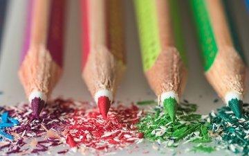 макро, фон, разноцветные, цвет, карандаши, цветные карандаши