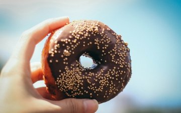 hand, donut, cakes, glaze