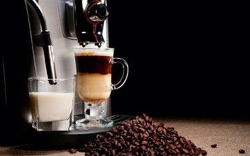 напиток, зерна, кофе, стакан, молоко, эспрессо, латте, кофемашина, кофеварка
