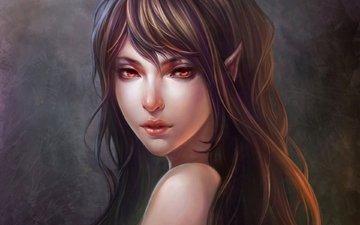 girl, portrait, brunette, fantasy, face, elf, long hair, red eyes