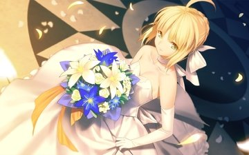 flowers, girl, blonde, petals, anime, green eyes, fate stay night, necklace, the bride, gloves, a bouquet of flowers, wedding dress, fate series, saber alter