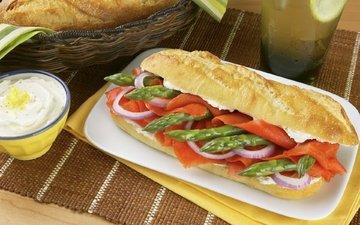 бутерброд, лук, хлеб, овощи, рыба, соус, сэндвич, спаржа, лосось