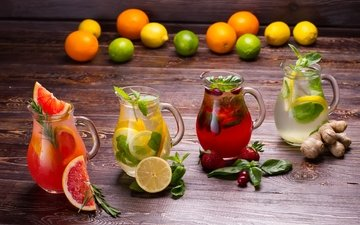 mint, fruit, strawberry, lemon, berries, drinks, grapefruit, fresh, lemonade, ginger