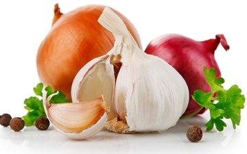 лук, белый фон, овощи, перец, чеснок, петрушка
