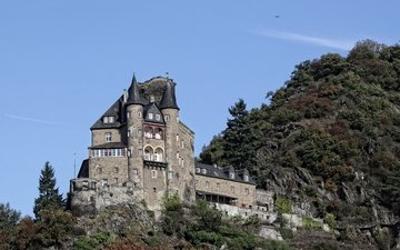 landscape, castle, germany, castle katz, saint goarshausen, st. goarshausen, burg katz