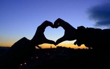 закат, девушка, настроение, фон, сердечко, сердце, любовь, силуэт, руки, чувства