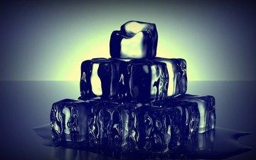 вода, лёд, кубики льда