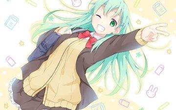 girl, green hair, wink, kantai collection, suzuya