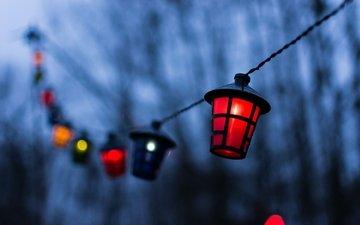 огни, разноцветные, размытость, гирлянда, фонарики, размытые