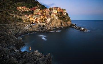 холмы, горизонт, побережье, италия, манарола