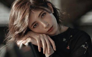 девушка, портрет, взгляд, волосы, лицо, руки, боке, diana, ivan ozerov