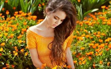 цветы, девушка, платье, сад, модель, макияж, длинные волосы, календула