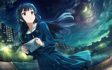 clouds, lights, park, moon, school uniform, mogami shizuka, the idolmaster