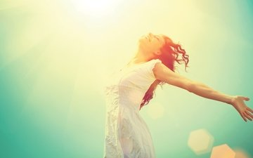 девушка, настроение, улыбка, радость, кудри, счастье
