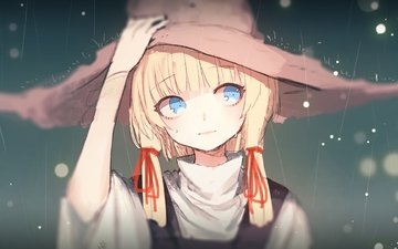 блонд, мория сувако, глаза голубые, тохо, raining, witch hat