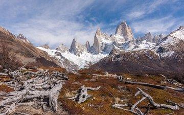 горы, снег, йосемитский национальный парк, monte fitz roy
