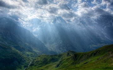 the sky, grass, clouds, mountains, hills, valley