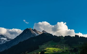 the sky, clouds, trees, mountains, nature, landscape, switzerland