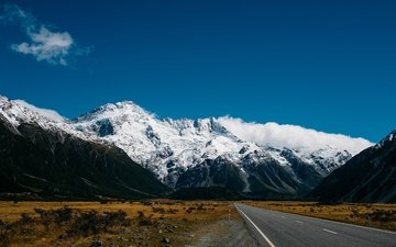 the sky, road, mountains, snow, nature, new zealand