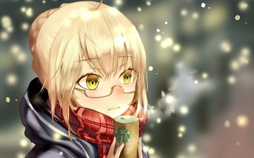 snow, blonde, coffee, age, manga, scarf, type-moon, berserker, fate grand order, heroine x, mysterious heroine x, great order of destiny, meganekko